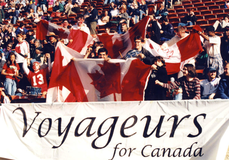 The Voyageurs in the stands during a Canada international match in 1996. (Canada Soccer)