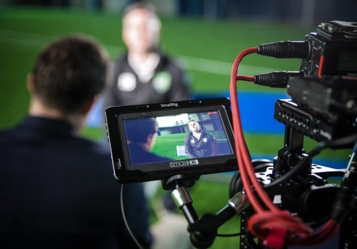 York 9 FC coach Jimmy Brennan chats with Kurt Larson. (Joelle Elfassy/CPL)