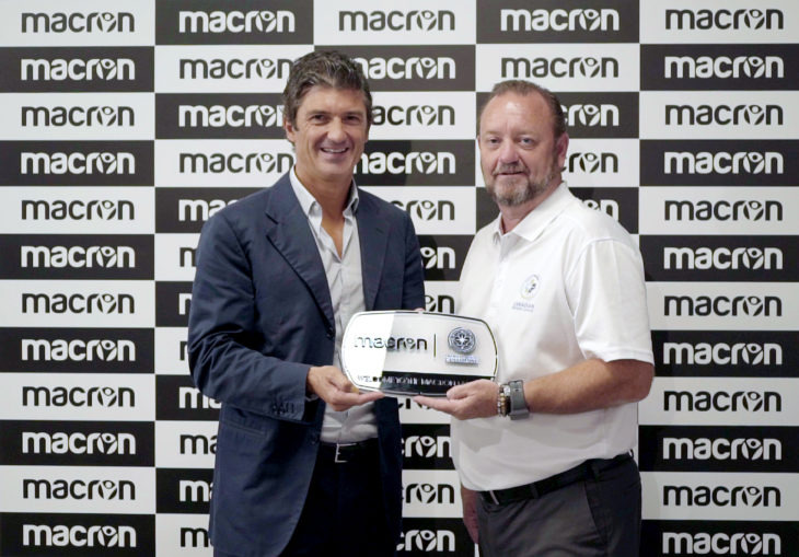 Canadian Premier League commissioner David Clanachan (R) with Macron CEO Gianluca Pavanello. (Supplied)