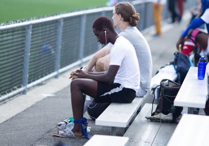 Lukumbi Tshindaye rests between games. (Lucho Calderon/CPL)