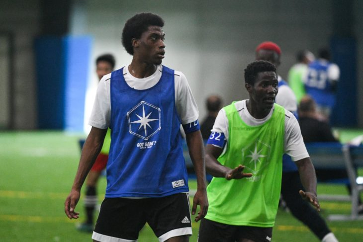 Duwayne Ewart (L) during Day 1 of the CPL Open Trials in Toronto. (Martin Bazyl, Canadian Premier League)