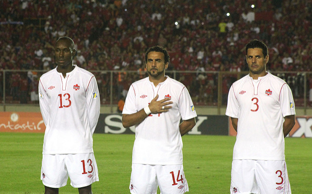Ante Jazic (R) ahead of a World Cup qualification match in Panama. (Canada Soccer)