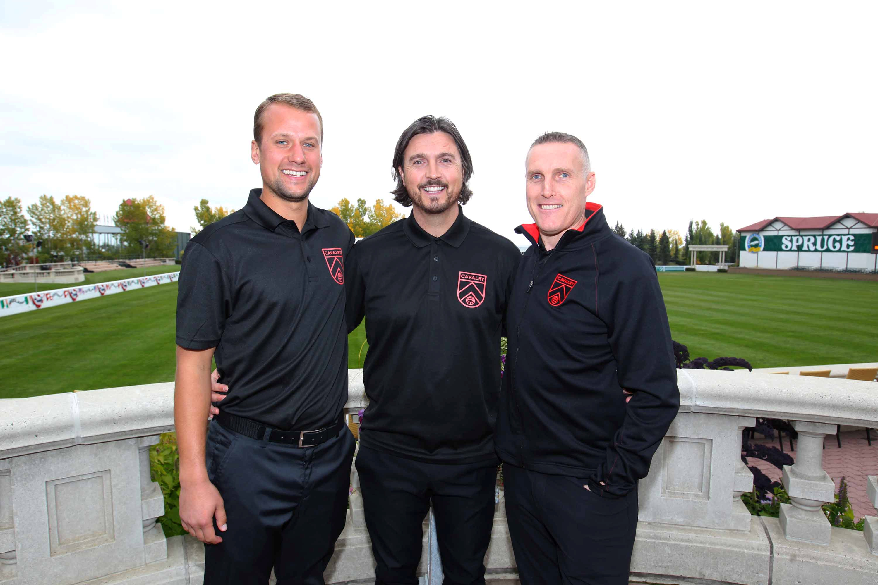 Cavalry FC's coaching staff includes Jordan Santiago (L), Tommy Wheeldon Jr. (C) and Martin Nash (R). (Photo courtesy: Jim Wells, Postmedia).
