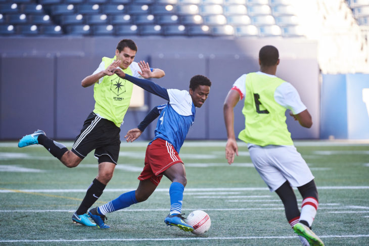 Jibril Yimar during Day 1 of the Open Trials in Winnipeg. (David Lipnowski, CPL)
