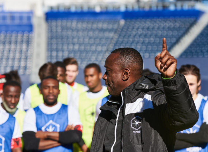Alex Bunbury speaks with trialists during last week's event in Winnipeg. (CPL)