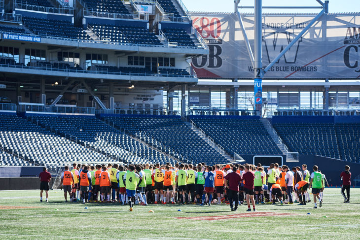 Winnipeg trialists gather at Investors Group Field. (CPL)